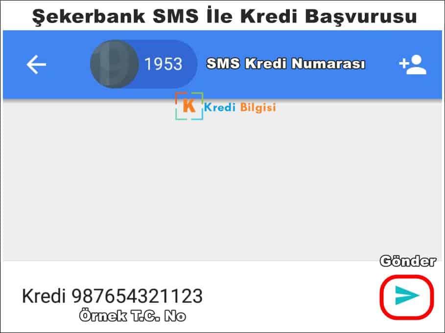 şekerbank kredi başvurusu sms